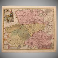17th Century Map of the Province of Hainaut (Nicolaum Visscher)