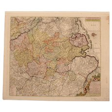 17th Century Map showing Westphalia in Germany by Pierre Mortier circa 1690