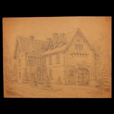 1920's Original Art Nouveau Pencil Drawing of the Hunting House in Wülfrath in Germany by Franz Brantzky