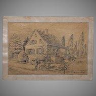 1918 Original Art Nouveau Ink Drawing of The Villa of Franz Brantzky in Hülsen, Germany by Franz Brantzky