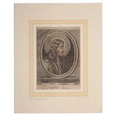 "17th Century Copper Engraving of ""Jesus Amabillis"""