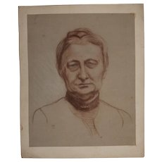 19th Century Crayon Drawing of an old Lady from Germany - Biedermeier circa 1875