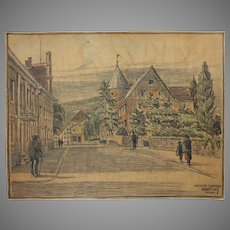 1910's Original Art Nouveau Charcoal and Pastel Painting of a street scene on Heckstreet in Werden Germany by Franz Brantzky