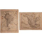 Set of Two 1850's Original Antique steel engravings - Map of South & North America