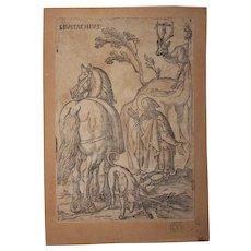 16th Century Original Old Master Woodcut - Saint Eustace (Entourage of Albrecht Dürer)