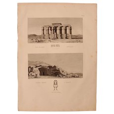 """Antique Print of the Temple of Hermopolis and Egyptian Tombs of Lycopolis - Original Copper Engraving from """"Napoleons Travels to Egypt"""" (Vivant Denon) 1802"""
