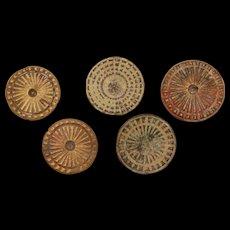Set of 5 Medieval Buttons from Iberian Peninsula - Bronze & Brass
