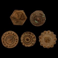 Set of 5 Ancient Buttons from Iberian Peninsula - Bronze & Brass - Red Tag Sale Item