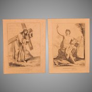 1814 / 1815 Set of Copper Engravings of Jesus and his Messenger - 19th Century Prints of Bible Verses