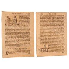 16th Century Woodcut of A Rhine Bridge & German Noble Man - Book page of Cosmographia (Sebastian Münster)