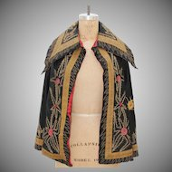 19th Century Antique Black Silk Cape with Embroidery