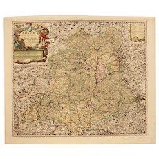 18th Century Map of Palatinate Region of Bavaria / Germany Ober-Pfalz (Nicolaum Visscher)