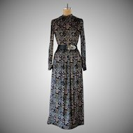 Vintage 1970s Winter Garden Velvet Maxi Dress
