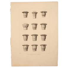 "Antique Print of Egyptian Capitals - Original Copper Engraving from ""Napoleons Travels to Egypt"" (Vivant Denon) 1802"