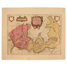 17th Century Map of New March & Uckermark in Brandenburg Germany (OLAUS JOANNIS GOTHUS)