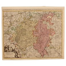 17th Century Antique map of Luxembourg and the surrounding Area - Belgium/France/Germany - by Visscher N. II (circa 1690)