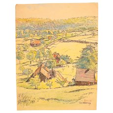 1910's Original Art Nouveau Ink & Watercolor Painting of German Landscape by Franz Brantzky