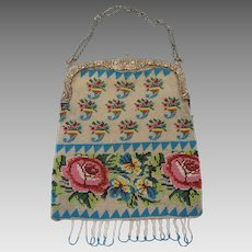 Antique hand-beaded Victorian Purse