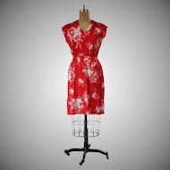 Vintage 1970s Red Flower Print Day Dress