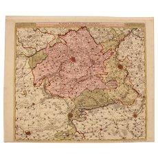 17th Century Antique map of South Flanders - Belgium - by Visscher N. II (1695)