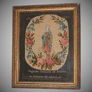 Victorian Needle Point Sampler - Sacred Heart of Mary - Handmade 19th Century Spanish Needlework Madonna