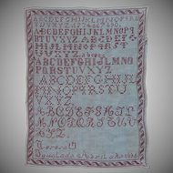 Antique 1895 Needle Work Sampler from Spain - 19th Century Needlepoint Alphabet