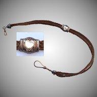 Biedermeier Woven Hair & Gold Filled Watch Chain - Victorian Engagement Gift