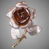 Vintage Gold Tone Flower Rose Pin