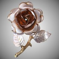 Vintage Gold Tone Flower Rose Pin