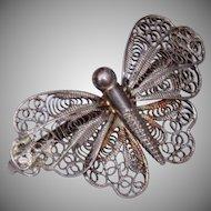 Handmade Vintage Butterfly Brooch 835 Silver filigree