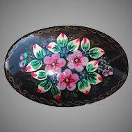 Vintage Russian Handpainted Flower Brooch