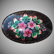 Vintage Russian Handpainted Flower Brooch