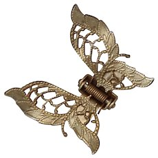 Vintage Brass Butterfly Hair Clip