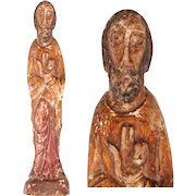 14th-15th Century Sculpture of Jesus Christ - Gothic / Romantic Wood Carved Polychrome Figure of the Lord