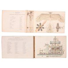 "1914 Model Atlas / Foldout Book about Modern Engine Construction - ""Der moderne Motorbau"" by W. Häntzschel-Clairmont"