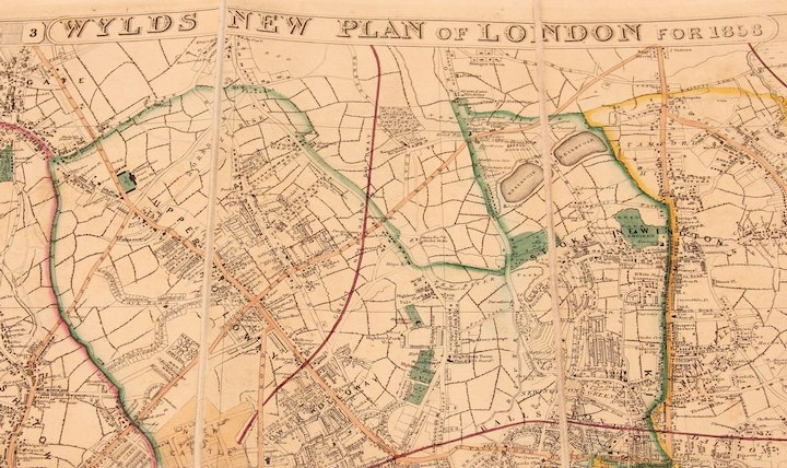 Full Map Of London.19th Century Pocket Map Of London Wylds New Plan Of London For 1858 By James Wyld