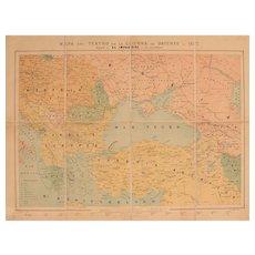 """19th Century Map of the Russo-Turkish War in 1877 - Lithography """"Mapa del teatro de la guerra de Oriente en 1877"""""""
