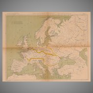 19th Century Map of Europe - Lithography of Military Regions of Europe