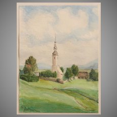 1941 Water Color / Aquarell Painting of a European Landscape by H. Jaglinski