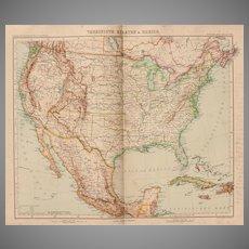 Art Nouveau Map of the USA, Mexico, Jamaica & Cuba (Stieler 1903)