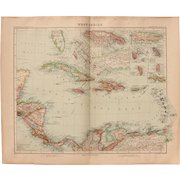 Art Nouveau Map of the Carribean / West Indies (Stieler 1902)