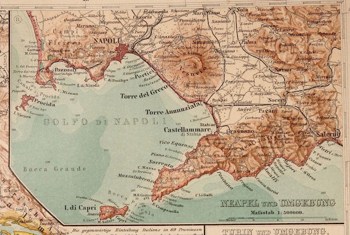 Art Nouveau Map of Italy with 5 detailed maps (Stieler 1904 ... on
