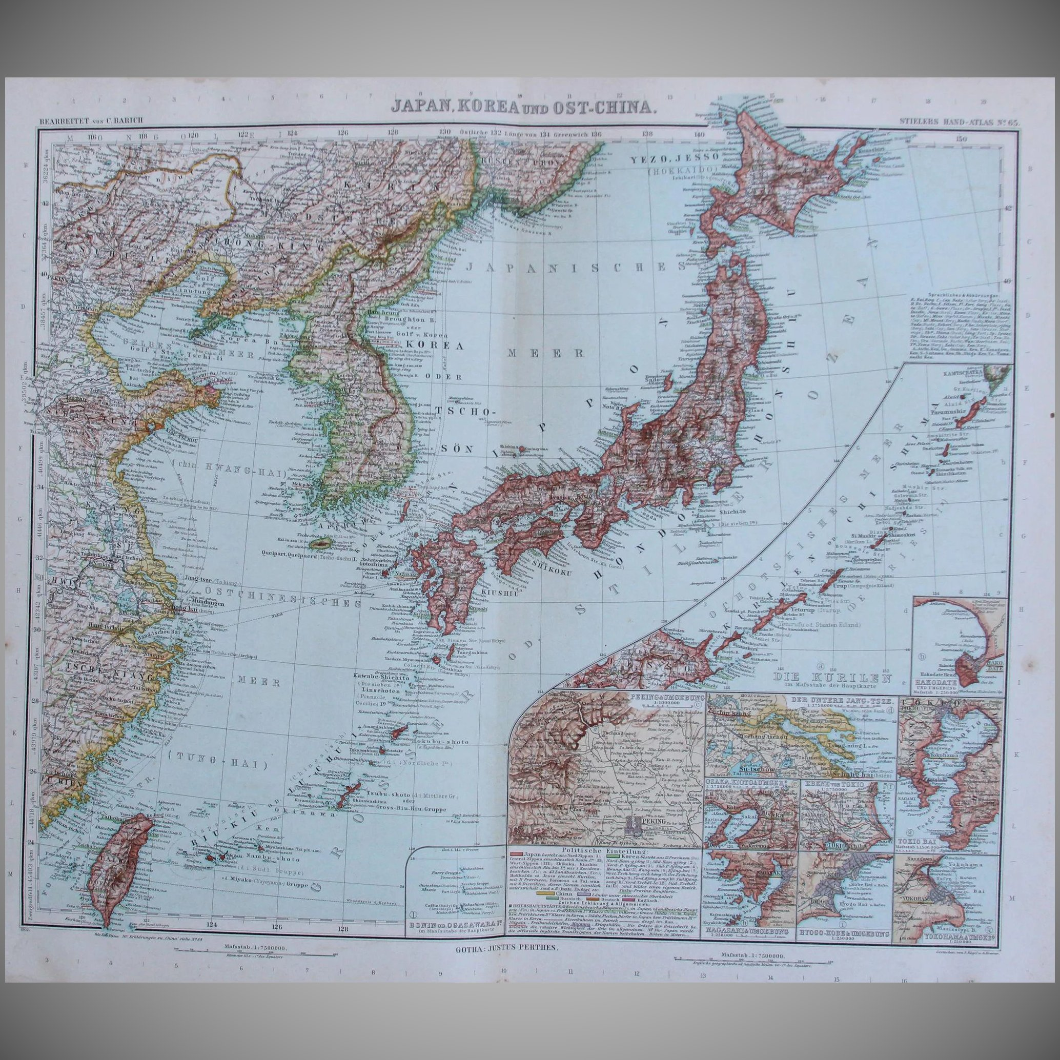 Art nouveau map of japan korea taiwan east china and more click to expand gumiabroncs Gallery