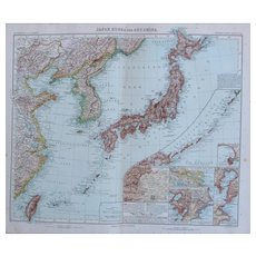 Art Nouveau Map of Japan, Korea, Taiwan, East China and More (Stieler 1902)