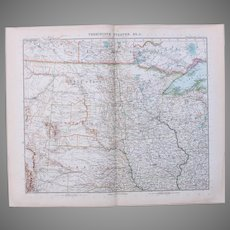 Art Nouveau Map of the North Central USA / Midwest incl. Denver, Winnipeg, Omaha, Minneapolis and more (Stieler 1902)