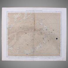 Art Nouveau Northern Map of the Stars /  Star Chart  (Stieler 1905)