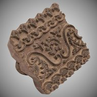 19th Century Asian Block Print for Fabric - Wooden Printing Block for Gauze