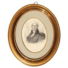19th Century Engraved Portrait of Bernard Germain de Lacépède (Naturalist & Freemason) in Biedermeier Gilt Frame
