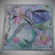Vintage Hand Painted Floral Art Nouveau Style Silk Scarf