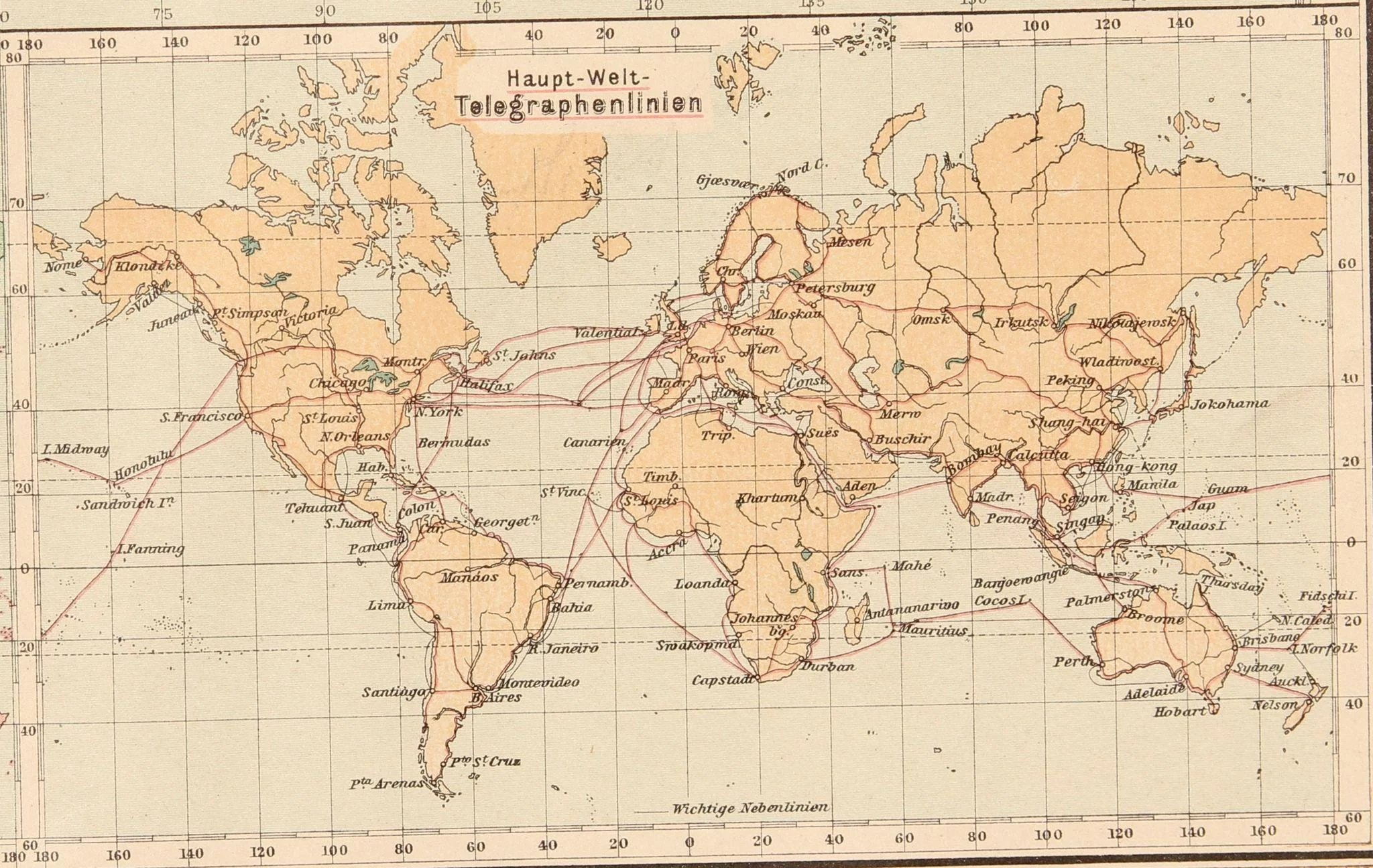 Art nouveau map of the world world map stieler 1905 vianova click to expand gumiabroncs Images